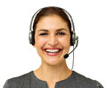 Happy female customer service representative portrait of wearing headset over white background horizontal shot Royalty Free Stock Image