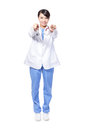 Happy female doctor finger point to you Royalty Free Stock Photography