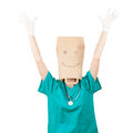 Happy female doctor with paper head Royalty Free Stock Photo