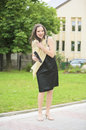 Happy Female Graduate Outdoors Near Campus Smiling Royalty Free Stock Photo