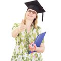Happy female graduate showing thumb up Royalty Free Stock Image