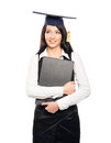 A happy female graduate student with a diploma young beautiful and girl holding degree and smiling isolated on white Royalty Free Stock Photo