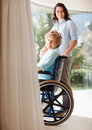 Happy female with her mother on the wheelchair Stock Image