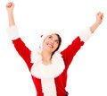 Happy female Santa with arms up Stock Image