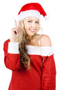 Happy Female Santa Clause Pointing To Copy Space Stock Images