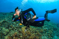 Happy Female Scuba Diver Royalty Free Stock Photo