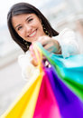 Happy female shopper Royalty Free Stock Photography
