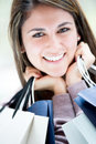 Happy female shopper Stock Image