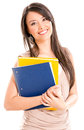 Happy female student holding notebooks isolated over white background Royalty Free Stock Photography