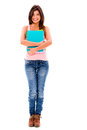 Happy female student holding notebooks isolated over white background Royalty Free Stock Photos