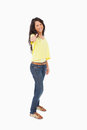 Happy female student the thumb-up Royalty Free Stock Photography