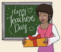 Happy Female Teacher Celebrating in Class with her Students, Vector Illustration