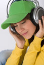 Happy female teenager enjoy music Royalty Free Stock Image