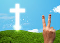 Happy finger smileys with christian religion cross smiley faces on hand Royalty Free Stock Photo
