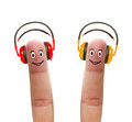 Happy fingers in headphones listen to music Stock Image