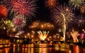 Happy fireworks display Royalty Free Stock Photo