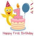 Happy first birthday greeting card with a funny cute chick a birthday cake with numbered candle a red balloon and a blue streamer Royalty Free Stock Photo