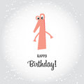 Happy First Birthday postcard for a girl. Pink number one and Ha