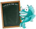 Happy fish with his big blackboard sign great illustration of a cute cartoon cod holding a chalk style to display fishy menu Royalty Free Stock Image
