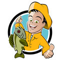 Happy fisherman cartoon Stock Photo