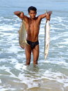 Happy fisherman varkala india janua ry lucky holding fish in varkala beach is the only place in southern kerala where cliffs are Stock Photos
