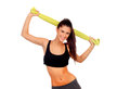 Happy fitness girl with green towel isolated on a white background Stock Photos