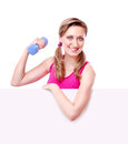 Happy fitness girl holding the blank board Royalty Free Stock Photo