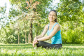 Happy fitness girl relaxing Royalty Free Stock Photo
