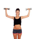 Happy fitness woman lifting dumbbells isolated on white background Royalty Free Stock Photo