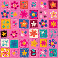 Happy flowers pattern colorful retro illustration Stock Photos
