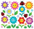 Happy flowers topic set 1 Royalty Free Stock Photo