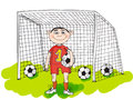 Happy football player in the day cartoon Royalty Free Stock Images