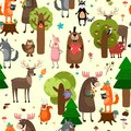Happy Forest Animals Seamless ...