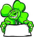 Happy Four Leaf Clover Shamrock Holding a Sign Royalty Free Stock Photography