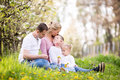 Happy four member young family spending spring afternoon together Royalty Free Stock Photo