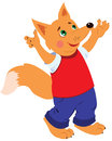 Happy fox cheerful in bright clothes with his hands up Royalty Free Stock Photo
