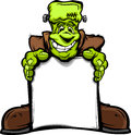Happy Frankenstein Halloween Monster with Sign Royalty Free Stock Images