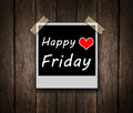 Happy friday on grunge wooden background with copy space Royalty Free Stock Photos
