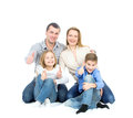 Happy friendly family young man woman boy and girl as a they are and smiling photo on the white background Royalty Free Stock Images