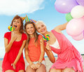 Happy friends on the beach Royalty Free Stock Photo