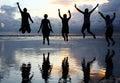 Happy friends at beach Royalty Free Stock Photo