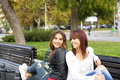 Happy friends beautiful girls talking Royalty Free Stock Image