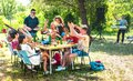 Happy friends having fun together at barbeque pic nic party - Multiracial young people at open air food festival Royalty Free Stock Photo