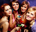 Happy friends on a party group of having fun disco Royalty Free Stock Photos