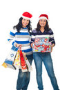 Happy friends women with Christmas gifts Royalty Free Stock Images