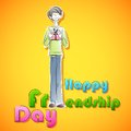 Happy friendship day background easy to edit vector illustration of boy with gift for Royalty Free Stock Photography