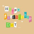 Happy friendship day greetings illustration of tagcloud on Royalty Free Stock Photos