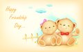 Happy friendship day illustration of cute couple of teddy bear waving hand Stock Photos