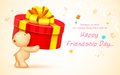 Happy friendship day illustration of cute teddy bear wishing Stock Photo