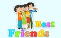 Happy friendship day illustration of friends enjoying Royalty Free Stock Photo